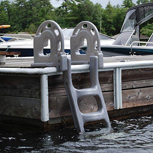 Dock Edge Dock Ladder 4 - Step Flip Up Stand Off - Grey