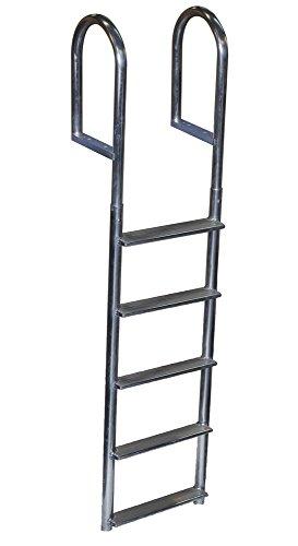 Dock Edge Welded Fixed Wide Step Dock Ladder 5 Steps Aluminum