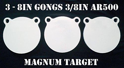 8 Inch AR500 Steel Gongs - 38in RiflePistol Targets - 3pc Metal Target Set