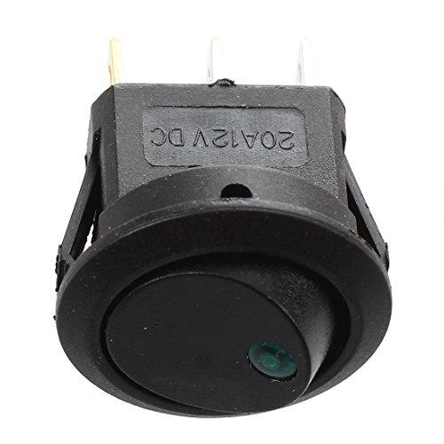 SODIALR 12V LED Inverter Rocking Rocker Switch ROUND SPST ON-OFF for BOAT Car green