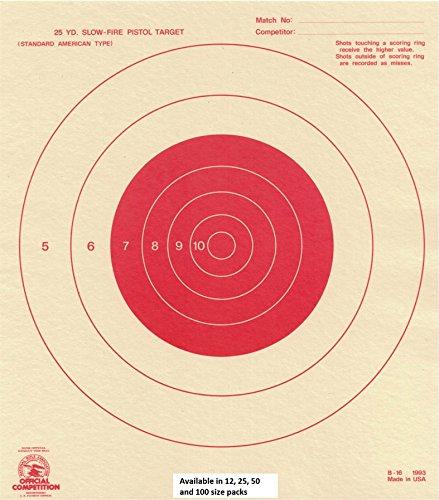 25 Yard Slow Fire Pistol Target Official NRA Target B-16 Orange 100 pack