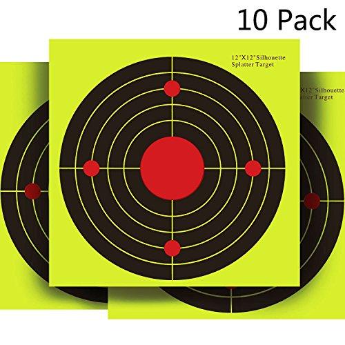 CVLIFE Shooting Targets Papers 12x12in 10 Pack Yellow upon Impact Gun Rifle Pistol AirSoft BB Gun Air Rifle
