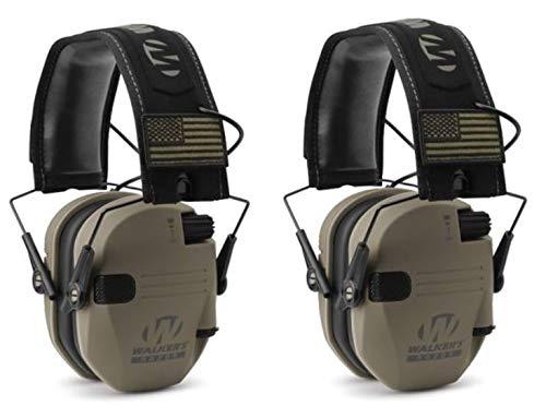 Walkers GWPRSEMPAT Razor Patriot Electronic Earmuff 23 dB Flat Dark EarthAmerica Patch - 2 Pack