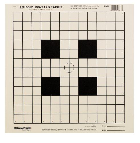 Champion NRA Sight-In GA-53 100-yard Rifle Scope Tagboard Target Pack of 12