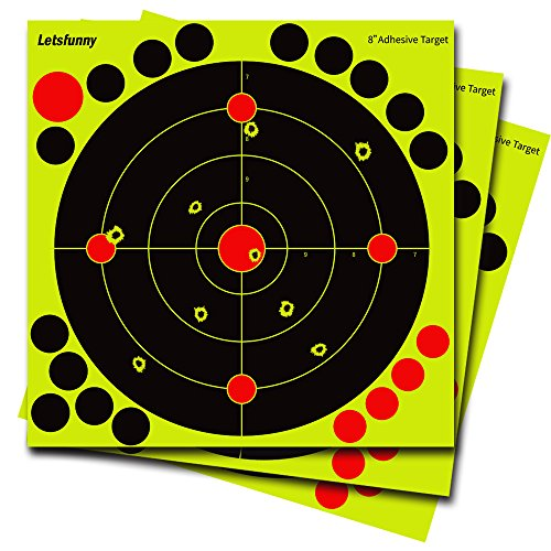 25 Pack Reactive Shooting Targets - Splatter Targets with 19 Adhesive Patches for Firearms