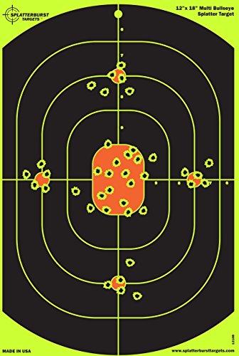 Splatterburst Targets - 12 x 18 inch Bullseye Reactive Shooting Target - Shots Burst Bright Fluorescent Yellow Upon Impact - Gun - Rifle - Pistol - AirSoft - BB Gun - Pellet Gun - Air Rifle 10 pack
