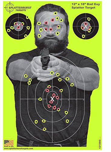 Splatterburst Targets - 12 x18 inch - Bad Guy Reactive Shooting Target - Shots Burst Bright Fluorescent Yellow Upon Impact - Gun - Rifle - Pistol - AirSoft - BB Gun - Air Rifle 25 pack