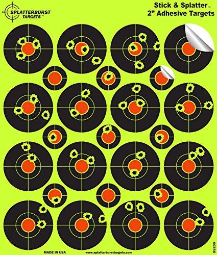 Splatterburst Targets - 2 inch Adhesive Stick Splatter Reactive Shooting Targets - Gun - Rifle - Pistol - AirSoft - BB Gun - Pellet Gun - Air Rifle 25 pack