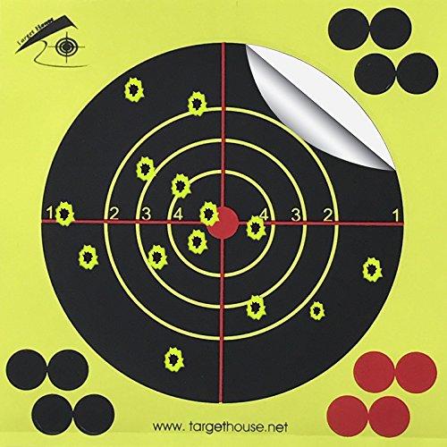 Target House 14 X 14 cm Self adhesive Splatter Reactive Shooting targets for Gun-Pistol-Rifle-Airsoft-Pellet Gun- Air rifle 25 pack
