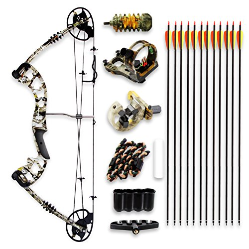 Camo Hunting Archery Compound Bow - 320 FPS Camoflauge Gear WFiberglass Limb Peep Sight 30-70 lbs Adjustable Draw Weight 235-305 Length Metal Riser 4 String Silencers - SereneLife