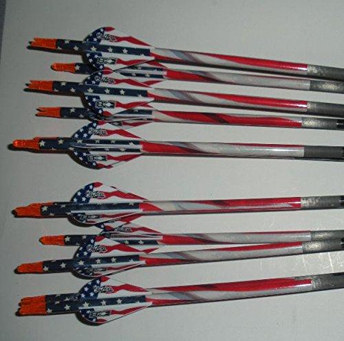 Carbon Express Mayhem Hunter 350 Carbon Arrows wBlazer Vanes Flag Wraps 1 Dz