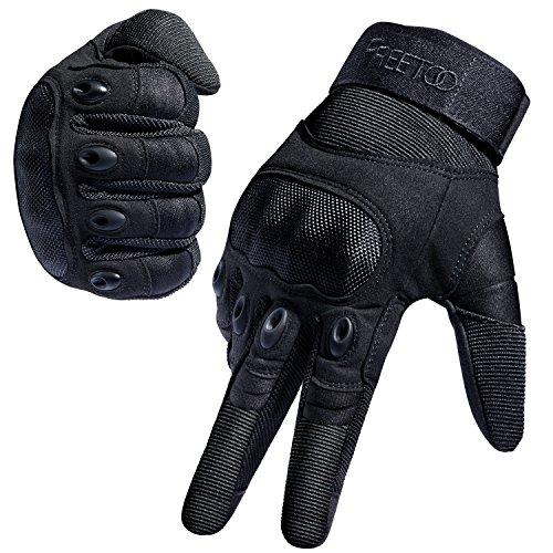 FREETOO Tactical Gloves Military Rubber Hard Knuckle Outdoor Gloves for Men Full Finger Gloves Black L