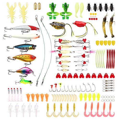 Hpory Fishing Lure Set 140 PCS Fishing Tackle Baits Kit in Box Crankbait Minnow Frog Lures Jighead Spoonbait Shrimp Worms Hooks for Trout Bass Salmon Saltwater Freshwater