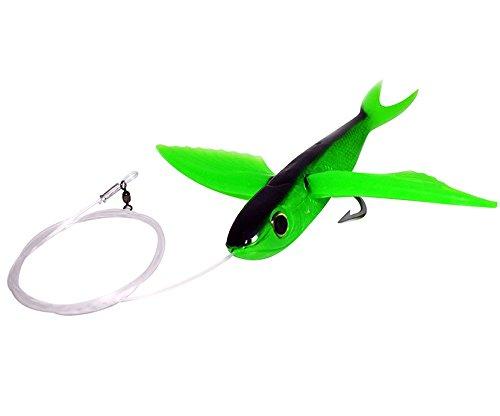8 Green and Black Flying Fish Rigged - Mahi Tuna Wahoo Lure Yummee Flyer