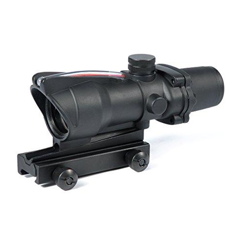 WOLTIS AR15 Scope ACOG 4x32 Fiber Optic Scope BDC Reticle 223 Ballistic with Red Fiber TA51 Flattop Mount Black