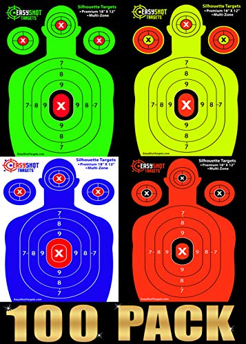 100-Pack Shooting Targets - 25 Sheets of Each Color Fluorescent Orange Neon Green Electric Blue and Neon Yellow Easy to See Your Shots Land Heavy-Duty Silhouette Paper Sheets