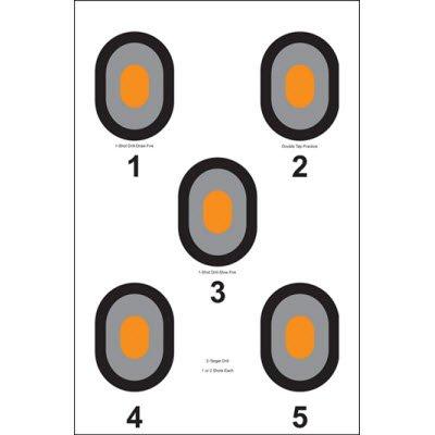 Action Target - 5 Bulls-Eye Paper Target with Orange Centers - 100 Pack - Paper Targets Shooting Targets