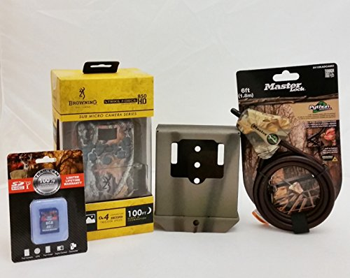 Browning Strike Force BTC-5HD-850 Trail Camera  8GB Card  Python Cable  Camlockbox Security Box
