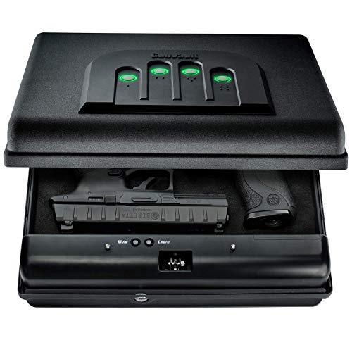 GunVault MicroVault XL Portable Large Gun Safe with Illuminated No-Eyes Digital Keypad and Security Cable 2 Pistol Capacity Renewed