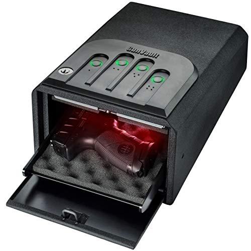 GunVault MiniVault Quick Access Compact Gun Safe with Illuminated No-Eyes Digital Keypad Auto Slide-Out Drawer and LED Illumination 1 Pistol Capacity