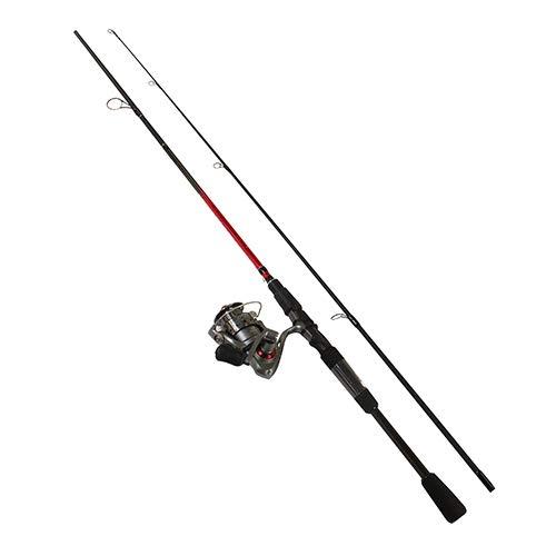 Quantum Optix Spinning Reel and 2-Piece Fishing Rod Combo Split-Grip EVA Foam Handle Continuous Anti-Reverse Fishing Reel Size 40