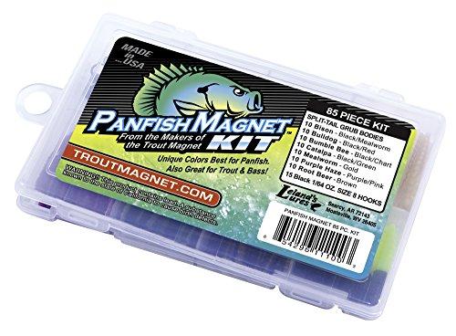 Trout Magnet Panfish Magnet Kit - 70 Split Tail Grub Bodies 15 Black Size 8 Hooks
