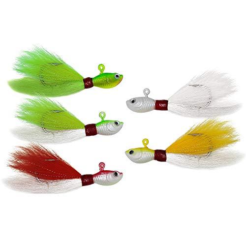 Alwonder Bucktail Jig Saltwater Freshwater Fishing Baits Fluke Lure Striper Bluefish Bass Flounder White Green RedYellow 12124 6 oz