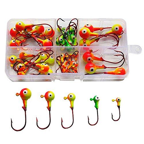 46Pcs Assorted Jig Head Hooks Fishing Hooks Tackle Box Kit - Total 211g in A Free Handy Box