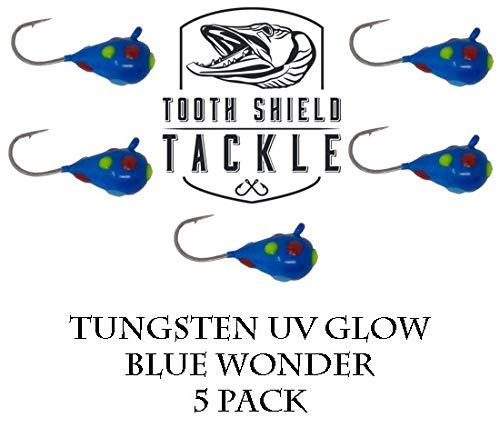 Tooth Shield Tackle UV Glow Tungsten Ice Fishing Jigs 5-Pack Rain Snow Tear Drop Jig Head Hooks Tip Up Tip Down 5mm Blue Wonder