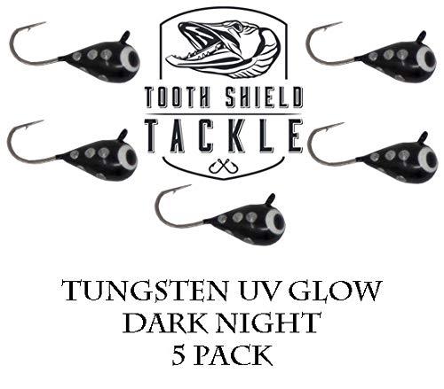 Tooth Shield Tackle UV Glow Tungsten Ice Fishing Jigs 5-Pack Rain Snow Tear Drop Jig Head Hooks Tip Up Tip Down 5mm Dark Night