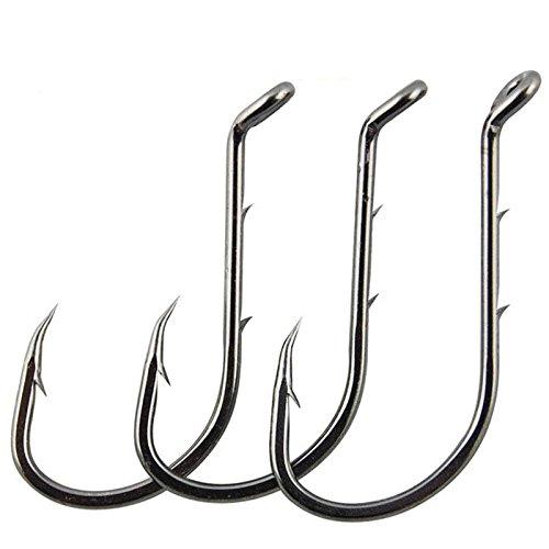 AGOOL 50-150 pcs Octopus Baitholder Fishing Hooks Fishing Jig Hooks Extra Sharp Black High Carbon Steel Circle Hooks for Freshwater Boat Fishing - Size 8-60