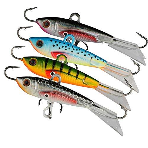 Trabe Ice Fishing Jigs with Treble Hook Winter Lifelike Fishing Baits Ice Jigging Lures kit for Walleye Bass