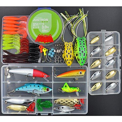 AGadget Fishing Lure Kit 74PCS Artificial Baits Hard Plastic Minnow Popper Soft Frog Worm Grub Spoon Kit Sharp Hook Jighead Both Saltwater Freshwater