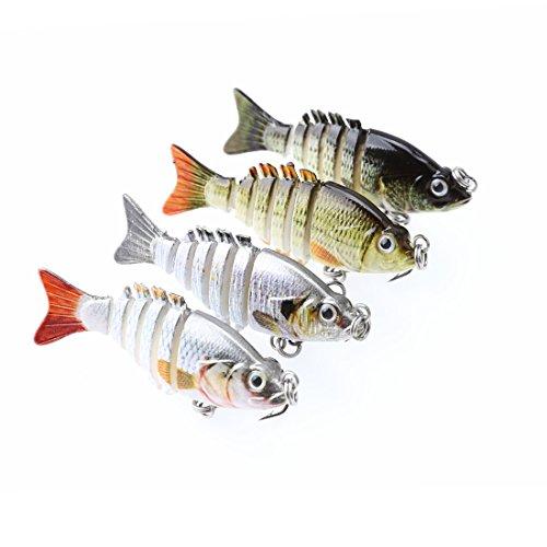 A-SZCXTOP 5cm 25g Multi Jointed Fishing Lures Hard Baits Lifelike 6 Segments Swimbait Bass Crankbaits Perch Pike Walleye Trout Fishing Baits 4pcs