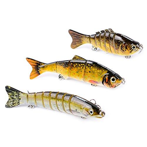 Multi Jointed Life-like Swimbait Hard Fishing Lure Bass Bait Treble Hooks for Bass Perch Trout C-3pcs