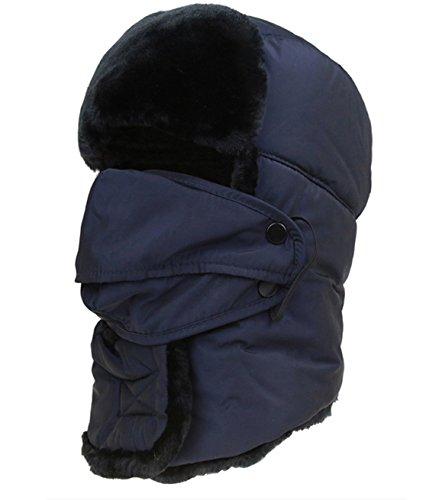 EJY Men Faux Fur Trapper Hat Waterproof Russian Unisex Hunting Hat
