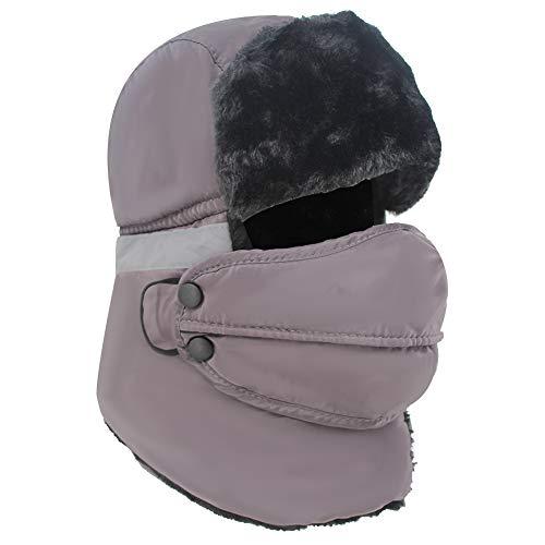 Trapper Hat Winter Trooper Ushanka Windproof Warm Russian Hat with Ear Flaps Unisex Winter Hunting Hat for Men and Women Grey