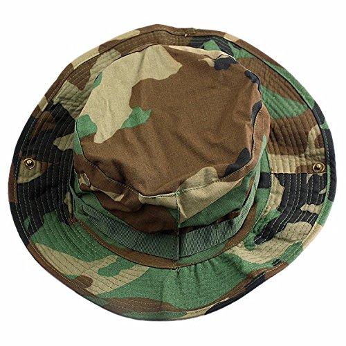 squaregarden Military Camo Adjustable Boonie Hat Hunting Bucket Hats  Woodland Camo