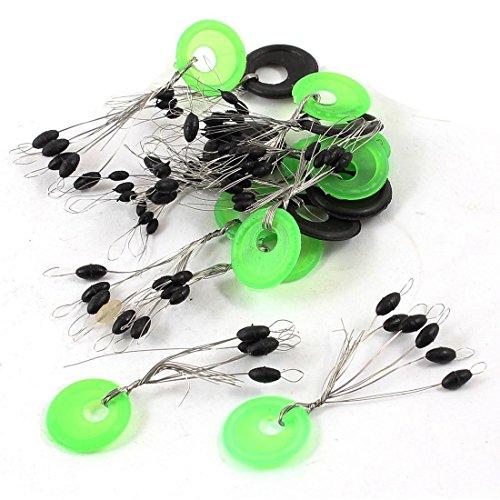 Fishing Bobber Stopper - SODIALR 15pcs GreenBlack Ring 6 in 1 Oval Rubber Float Stop Fishing Stopper