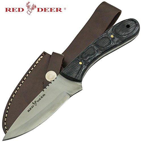 Red Deer Black Pakka Wood Handle Hunting Knife Skinning Knife Leather Case