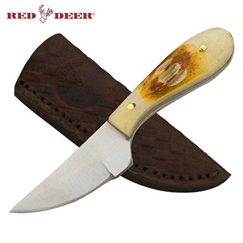 Red Deer Hunting Skinning Neck Knife with Burnt Bone Chipped Handle Deer Hunting Knife Deer Cleaning knife Neck knife