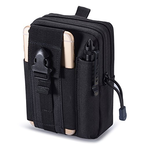 Zeato Tactical Molle Pouch EDC Utility Gadget Belt Waist Bag Pocket Organizer with Cell Phone Holster Holder for iPhone 66 Plus 77Plus Samsung Galaxy S8 S7 S6 LG HTC and More Black