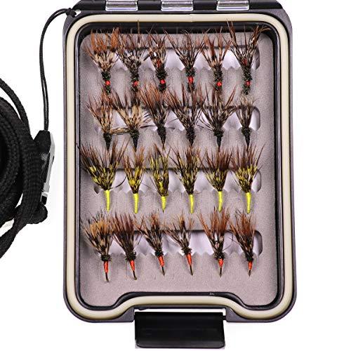 wifreo Tenkara Flies Pack of 24 in Waterproof Fly Box Size 12 Barbed Hook Tenkara Fishing Fly