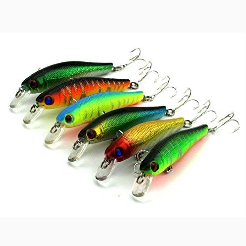 Iuhan 6pcs Colorful 3D Fish Eyes Fishing Hard Baits With Hooks Reflective Fake Bait