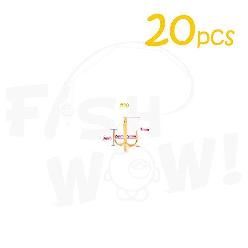 20pcs Fish WOW Fishing 3x Strong Treble Hooks Gold - Size 20 Tiny Size
