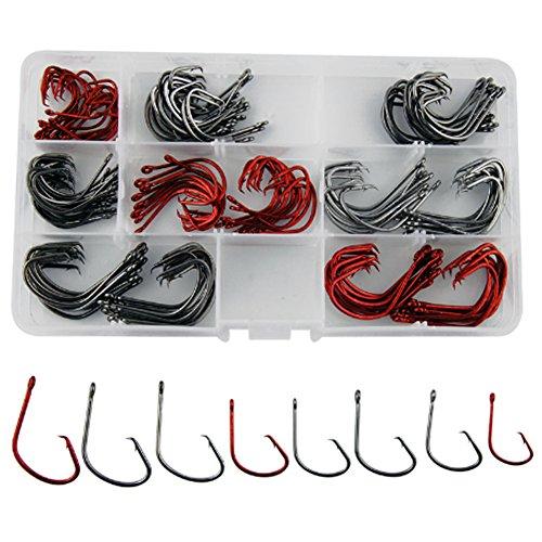 Shaddock Fishing  160pcsbox 7381 Offset Sport Circle Hooks Black High Carbon Steel Octopus Fishing Hooks-Size1-50