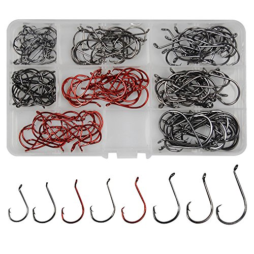 Shaddock Fishing 160pcsbox 7384 2X Strong Offset Sport Circle Hooks Black High Carbon Steel Fishing Hooks Sharp Octopus Fishing Hooks-Size1-50