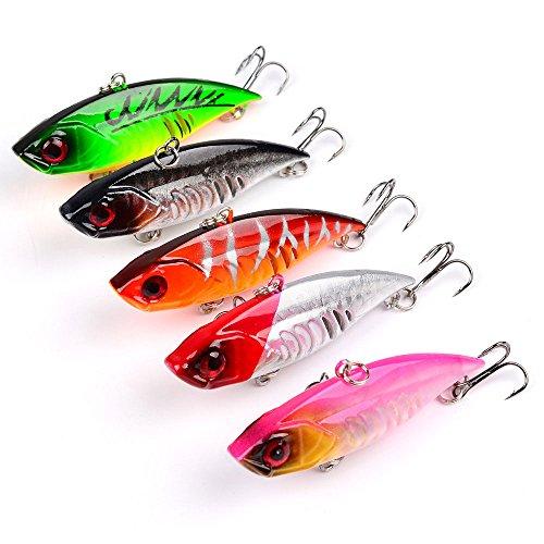 Fishing Lures Hard Bait Minnow VIB Lure with Treble Hook Life-like Swimbait Fishing Bait 3D Fishing Eyes Popper Crankbait for Bass Trout Salmon Color-B 5PCS
