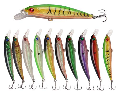 JSHANMEI Fishing Lures Hard Bait Minnow Lure with Treble Hook Life-Like Swimbait Fishing Bait 3D Fishing Eyes Crankbait for Bass Trout Walleye Redfish