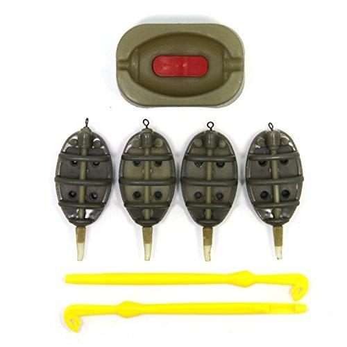 SAMSFX Plastic Environmental Inline Method Feeder and Loop Tyer Disgorger Fish Hook Remover Detacher Unhook Carp Fishing Series Baiting Tools Tackle Box Green-A320Plus